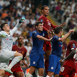 Virgil van Dijk of Liverpool and Goalkeeper Kepa Arrizabalaga of Chelsea during the UEFA SUPERCUP match between Liverpool and Chelsea at Vodafone Park in Istanbul , Turkey on August 14 , 2019. <br /> Photo : Seskimphoto / Icon Sport