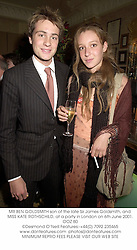 MR BEN GOLDSMITH son of the late Sir James Goldsmith, and MISS KATE ROTHSCHILD, at a party in London on 6th June 2001.OOZ 80