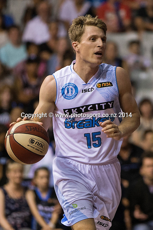 Breakers` Rhys Carter in the game between SkyCity Breakers v Townsville Crocodiles. 2014/15 ANBL Basketball Season. North Shore Events Centre, Auckland, New Zealand, Friday, December 19, 2014. Photo: David Rowland/Photosport