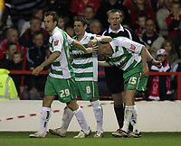 Photo: Rich Eaton.<br /> <br /> Nottingham Forest v Yeovil Town. Coca Cola League 1. Play off Semi Final 2nd Leg. 18/05/2007. Yeovils Lee Morris is congratulated on his extra time goal to make the score 4-1