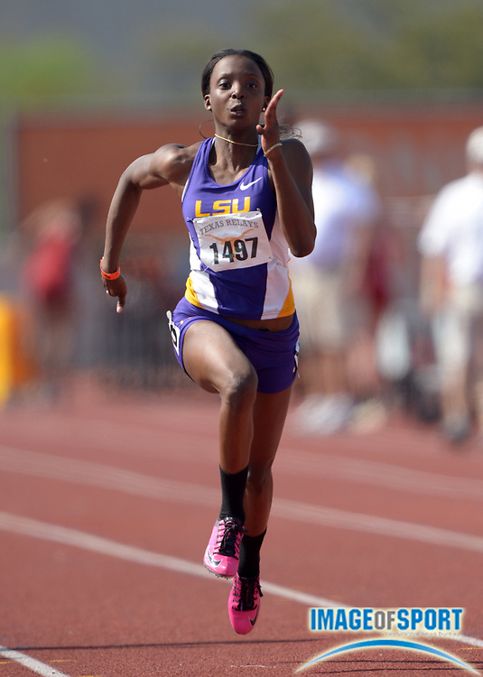 Mar 28, 2014; Austin, TX, USA; Takeia Pinckney of LSU runs 11.42 in a womens 100m heat in the 87th Clyde Littlefield Texas Relays at Mike A. Myers Stadium.