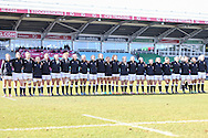 England Women sing their National Anthem before the Women's RBS 6 Nations match at Twickenham Stoop , London<br /> Picture by David Horn/Focus Images Ltd +44 7545 970036<br /> 15/02/2015