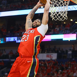 Apr 19, 2018; New Orleans, LA, USA; New Orleans Pelicans forward Anthony Davis (23) dunks against the Portland Trail Blazers during the first quarter in game three of the first round of the 2018 NBA Playoffs at the Smoothie King Center. Mandatory Credit: Derick E. Hingle-USA TODAY Sports