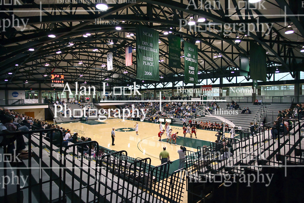 10 January 2009: Wide angle view of the basketball facilities inside of the Shirk Center. The Illinois Wesleyan Titans, ranked #1 in the latest USA Today/ESPN poll, take down the Lady Reds of Carthage and remain undefeated,  2-0 in the CCIW and over all to 12-0. This is the first time in the history of the Lady Titans Basketball they have been ranked #1 The Titans and Lady Reds played in the Shirk Center on the Illinois Wesleyan Campus in Bloomington Illinois.