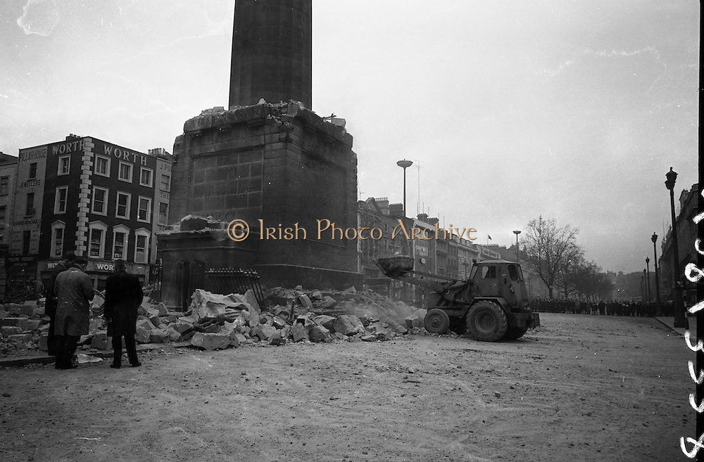 The top of Nelson's Pillar in O'Connell Street was destroyed by a bomb in the early hours of the morning. The bomb was allegedly planted by group of former Irish Republican Army volunteers.<br /> 08.03.1966