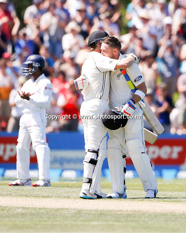 Brendon McCullum celebrates his century. First day, ANZ Boxing Day Cricket Test, New Zealand Black Caps v Sri Lanka, 26 December 2014, Hagley Oval, Christchurch, New Zealand. Photo: John Cowpland / photosport.co.nz