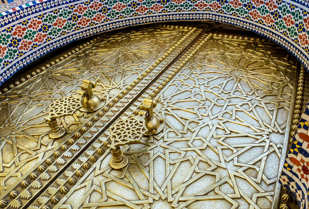 FEZ, MOROCCO - CIRCA APRIL 2017:  Entrance door of the Royal Palace in Fez