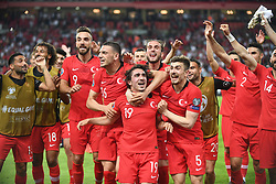 Turkey players celebrate 2-0 victory against France after Euro 2020 group H qualifying soccer match between Turkey and France at the Konya City Stadium in Konya, Turkey, June 8, 2019. Photo by Abdurrahman Antakyali/Depo Photos/ABACAPRESS.COM