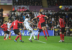 Swansea City's Wilfried Bony scores. - Photo mandatory by-line: Alex James/JMP - Tel: Mobile: 07966 386802 08/02/2014 - SPORT - FOOTBALL - Swansea - Liberty Stadium - Swansea City v Cardiff City - Barclays Premier League