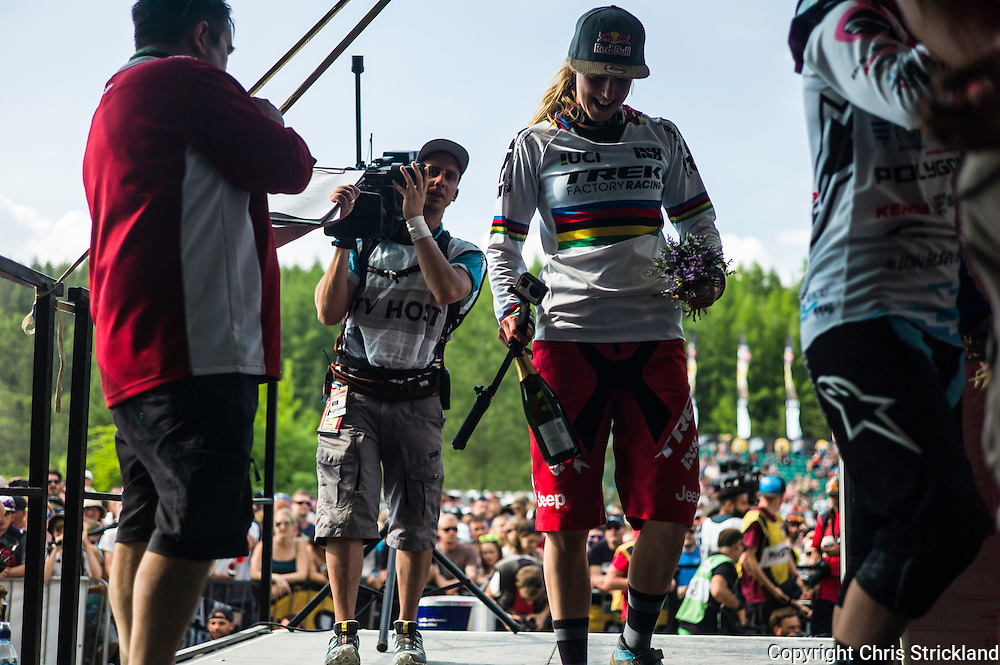 Nevis Range, Fort William, Scotland, UK. 5th June 2016. World champion Rachel Atherton (GBR) celebrates winning in Scotland. The worlds leading mountain bikers descend on Fort William for the UCI World Cup on Nevis Range.