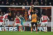 Hull City defender Ryan Taylor (5) heads towards goal during the The FA Cup fifth round match between Hull City and Arsenal at the KC Stadium, Kingston upon Hull, England on 8 March 2016. Photo by Ian Lyall.