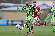 Forest Green Rovers Robert Hall(15), on loan from Oxford United passes the ball forward during the EFL Sky Bet League 2 match between Forest Green Rovers and Walsall at the New Lawn, Forest Green, United Kingdom on 8 February 2020.