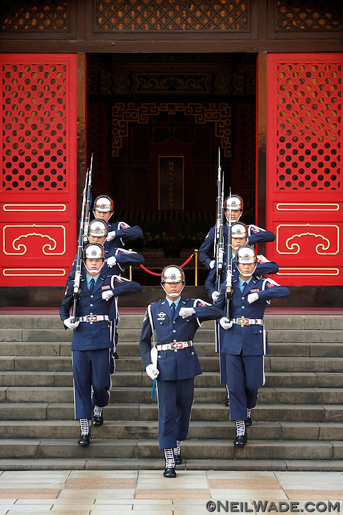 The changing of the honor guard ceremony at the Martyrs' Shrine in Taipei.