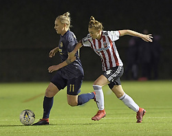 February 20, 2019 - Sheffield, United Kingdom - Jade Pennock (Sheffield United) chases down leah Galton (Manchester United) during the  FA Women's Championship football match between Sheffield United Women and Manchester United Women at the Olympic Legacy Stadium, on February 20th Sheffield, England. (Credit Image: © Action Foto Sport/NurPhoto via ZUMA Press)