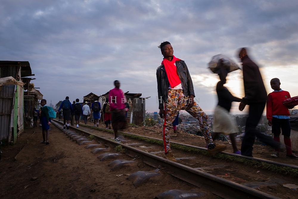 "Kibera based fashion designer David Avido ""LooksLikeAvido"", showing his style in the township of Kibera in Nairobi Kenya on Wednesday 18th of September."