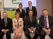 Peter Young IFJ, David Small, DARDNI, and seated Prof Gerry Boyle, Director Teagasc , <br /> MEP Mairead McGuinness,  Kenneth Keavey Green Earth Organics, (Finalist) and John Concannon JFC at the JFC Innovation awards sponsored by Teagasc, DARD Northern Ireland and the Irish Farmers Journal at the Claregalway Hotel. Photo:Andrew Downes