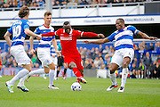Charlton Athletic striker Igor Vetokele (14) gets in to an attacking position during the Sky Bet Championship match between Queens Park Rangers and Charlton Athletic at the Loftus Road Stadium, London, England on 9 April 2016. Photo by Andy Walter.