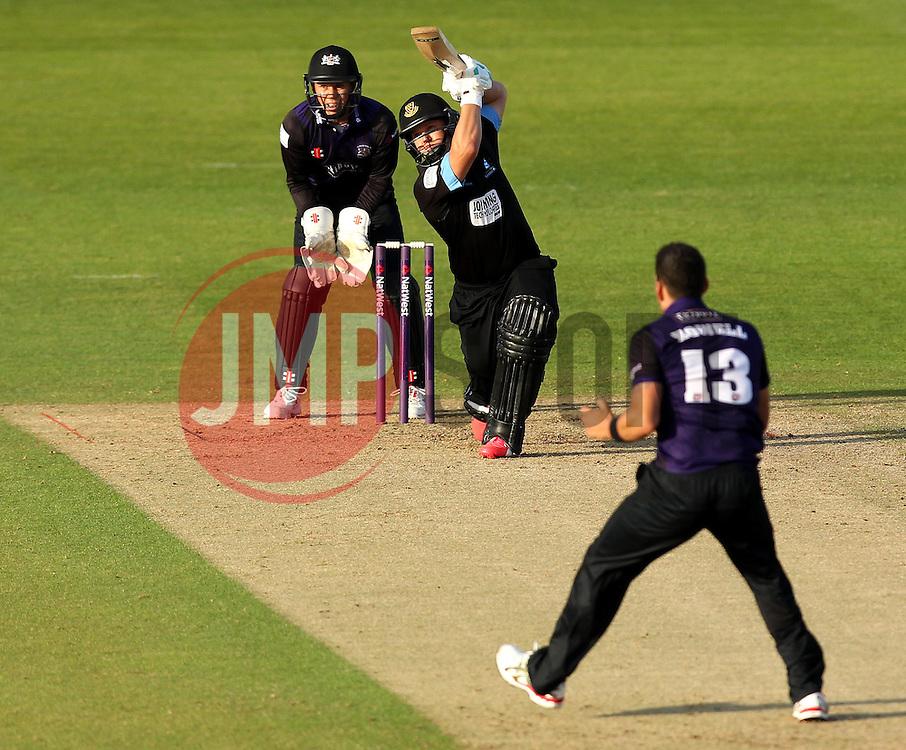 Sussex's Craig Cachopa bats against Gloucestershire's Benny Howell - Photo mandatory by-line: Robbie Stephenson/JMP - Mobile: 07966 386802 - 26/06/2015 - SPORT - Cricket - Bristol - The County Ground - Gloucestershire v Sussex - Natwest T20 Blast