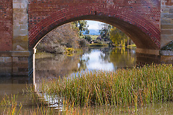 View through The Red Bridge, Campbell Town, Tasmania.