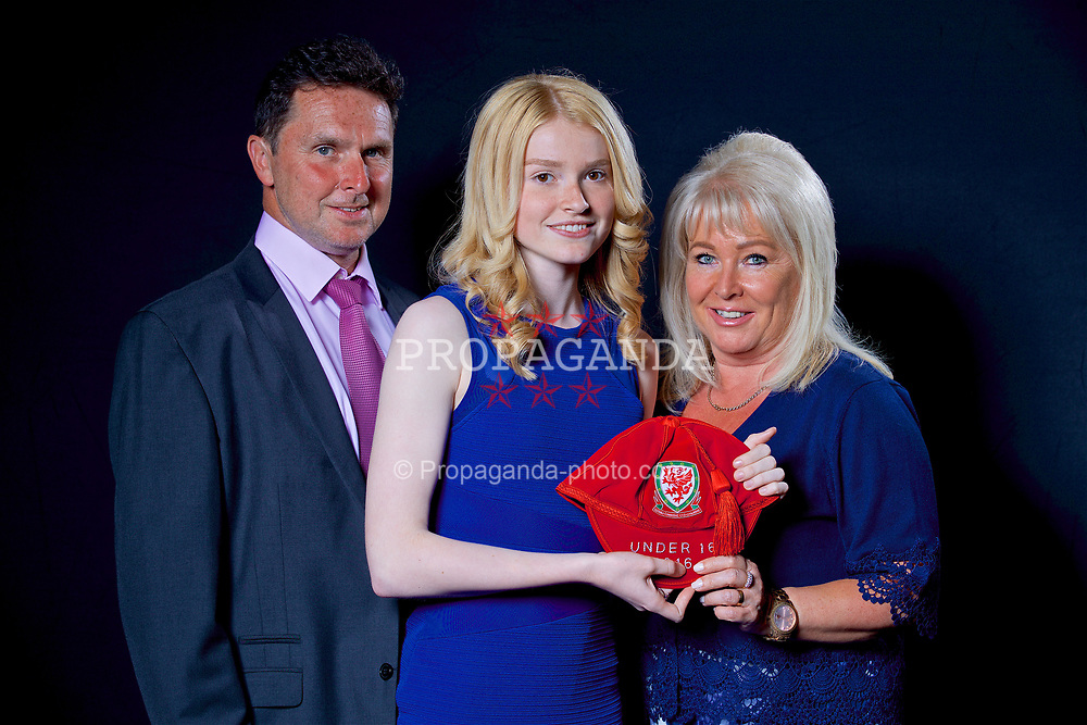 NEWPORT, WALES - Saturday, May 27, 2017: Lucy Atwood and her family with her Under-16 Wales cap at the Celtic Manor Resort. (Pic by David Rawcliffe/Propaganda)