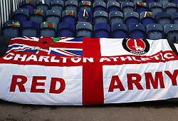 Close up of a Charlton Athletic flag before the game