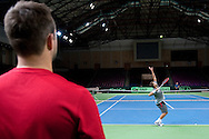 (R) Michal Przysiezny of Poland while training session three days before the BNP Paribas Davis Cup 2014 between Poland and Croatia at Torwar Hall in Warsaw on April 1, 2014.<br /> <br /> Poland, Warsaw, April 1, 2014<br /> <br /> Picture also available in RAW (NEF) or TIFF format on special request.<br /> <br /> For editorial use only. Any commercial or promotional use requires permission.<br /> <br /> Mandatory credit:<br /> Photo by © Adam Nurkiewicz / Mediasport