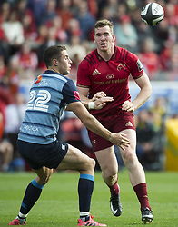 September 30, 2017 - Limerick, Ireland - Steven Shingler of Cardiff and Chris Farrell of Munster during the Guinness PRO14 Conference A Round 5 match between Munster Rugby and Cardiff Blues at Thomond Park in Limerick, Ireland on September 30, 2017  (Credit Image: © Andrew Surma/NurPhoto via ZUMA Press)