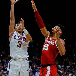 Jan 13, 2018; Baton Rouge, LA, USA; LSU Tigers guard Tremont Waters (3) shoots over Alabama Crimson Tide forward Braxton Key (25) during the second half at the Pete Maravich Assembly Center. Alabama defeated LSU 74-66.  Mandatory Credit: Derick E. Hingle-USA TODAY Sports