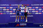 Podium, Men Scratch Race, Roman Gladys, Ukraine (Gold Medal), Adrien Garel, France (silver medal), Tristan Marguet, Switzerland (bronze medal), during the UEC Track Cycling European Championships Glasgow 2018, at Sir Chris Hoy Velodrome, in Glasgow, Great Britain, Day 2, on August 3, 2018 - Photo Luca Bettini / BettiniPhoto / ProSportsImages / DPPI - Belgium out, Spain out, Italy out, Netherlands out -