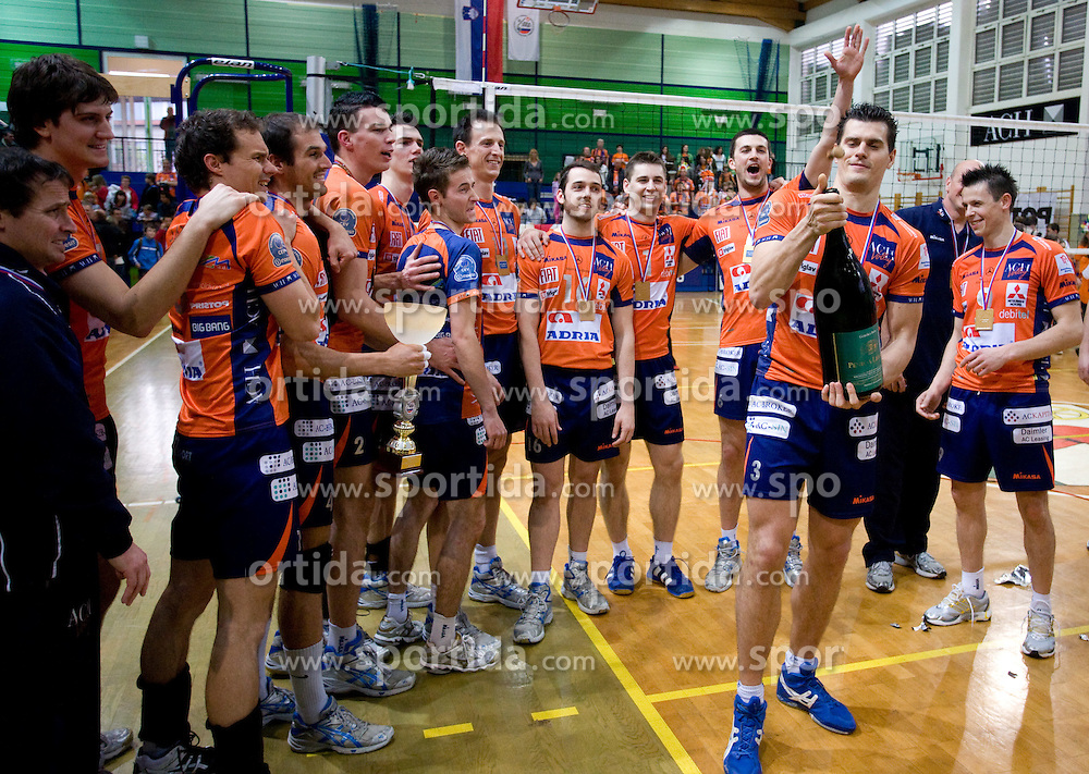 Davor Cebron with a champaign at last final volleyball match of 1.DOL Radenska Classic between OK ACH Volley and Salonit Anhovo, on April 21, 2009, in Arena SGS Radovljica, Slovenia. ACH Volley won the match 3:0 and became Slovenian Champion. (Photo by Vid Ponikvar / Sportida)