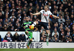 Harry Kane of Tottenham Hotspur battles for possession with Leon Britton of Swansea City - Mandatory byline: Robbie Stephenson/JMP - 28/02/2016 - FOOTBALL - White Hart Lane - Tottenham, England - Tottenham Hotspur v Swansea City - Barclays Premier League