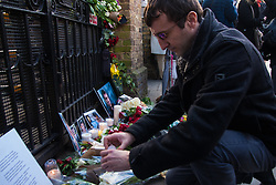 Russian embassy, London, March 1st 2015. Hundreds of Ukranians and Russians hold a vigil and demonstration at the Russian embassy following the assassination of Russian opposition leader Boris Nemtsov.