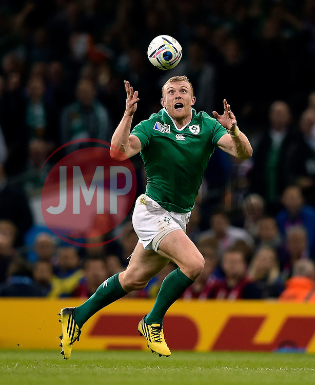 Keith Earls of Ireland looks to gather the ball - Mandatory byline: Patrick Khachfe/JMP - 07966 386802 - 11/10/2015 - RUGBY UNION - Millennium Stadium - Cardiff, Wales - France v Ireland - Rugby World Cup 2015 Pool D.
