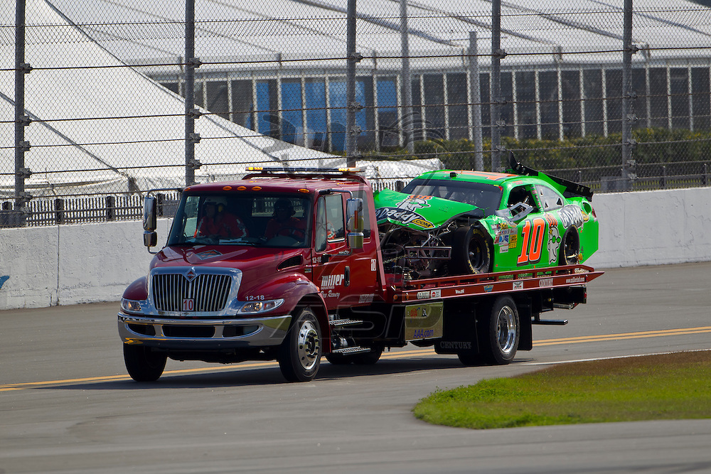 Daytona Beach, FL - Feb 23, 2012: Danica Patrick (10) spins off of turn 2 and wrecks during the Gatorade Duel 1 race at the Daytona International Speedway in Daytona Beach, FL.