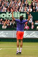 Roger Federer (SUI) springt hoch und jubelt nach seinem Sieg, Endspiel, Final, <br /> <br /> Tennis - Gerry Weber Open - ATP 500 -  Gerry Weber Stadion - Halle / Westf. - Nordrhein Westfalen - Germany  - 21 June 2015. <br /> &copy; Juergen Hasenkopf