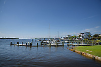 Boats docked along the marina at Swansboro on the White Oak River.