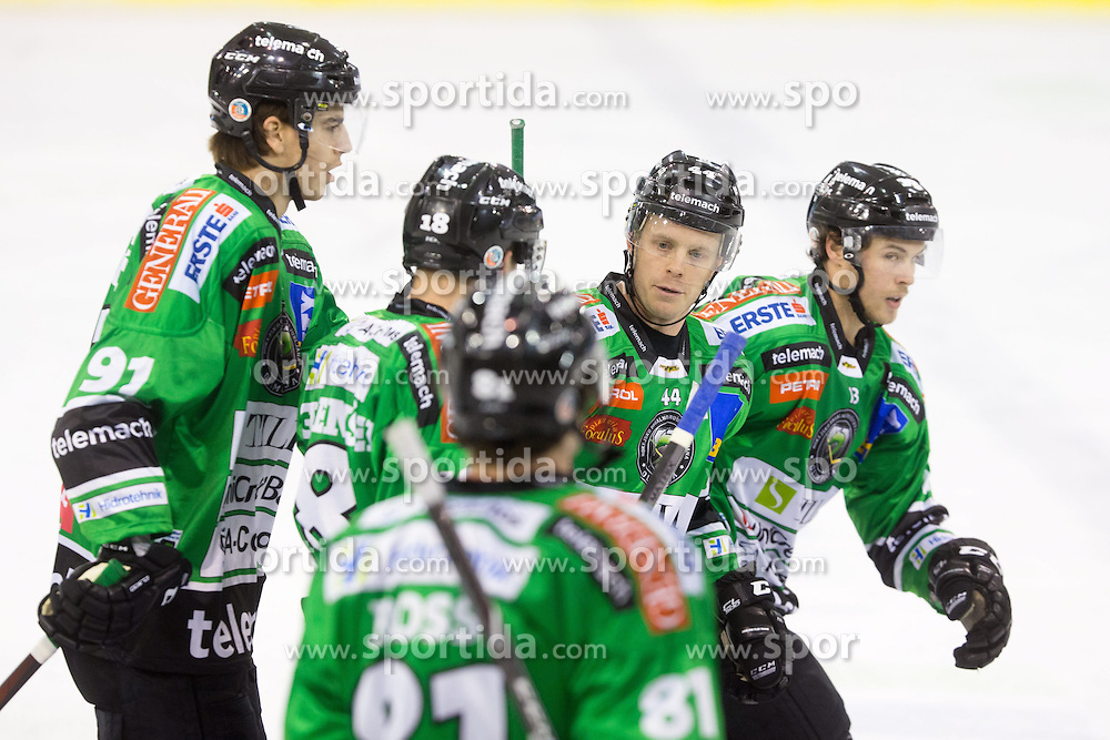19.10.2013, Hala Tivoli, Ljubljana, SLO, EBEL, AUT, EBEL, HDD Telemach Olimpija Ljubljana vs HC TWK Innsbruck, 24. Runde, im Bild Players of HDD Telemach Olimpija celebrate after scoring, goal // during the Erthe Bank Icehockey League 24 th round match between HDD Telemach Olimpija Ljubljana and HC TWK Innsbruck Hala Tivoli in Ljubljana, Slovenia on 2013/10/19. EXPA Pictures © 2013, PhotoCredit: EXPA/ Sportida/ Matic Klansek Velej<br /> <br /> *****ATTENTION - OUT of SLO*****