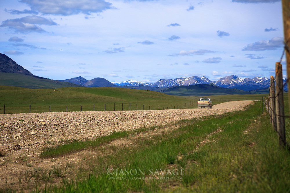 Truck on Montana backroad, Rocky Mountain Front.