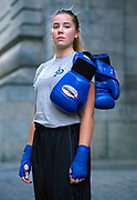 Hannah Benson finds the gym really real and loves being able to learn to face fear, nothing more scary than having a 12 year boy punch you in the face. Makes you confident in unfamiliar situations. <br /> <br /> I am currently a Undergraduate Senior at New York University where I study Arabic, Middle Eastern &amp; Islamic Studies and Creative Production. I just accepted a position with Teach For America beginning in June, where I will teach Special Education in Oakland, California and focus on the fight to expand educational equity for children in the United States. <br /> <br /> I have been focused on athletics since a young age, growing up swimming very competitively from the time I was 8 years old. Since I began college I have missed my muscles and the feeling that comes with knowing that I am strong and in shape. The idea of boxing terrified me and excited me so I decided to give it a try<br /> <br /> Has the reason for boxing changed after doing it for a while?<br /> Since I started boxing at Gleason's, I found myself a team and a coach who I have built a bond with. Working alongside them makes coming back each day worth it.<br /> <br /> What does it do for you/mean to you as a woman? <br /> My physical strength has been a large part of my identity since a young age. I'm not sure what it means for me explicitly as a woman, but as a woman with an identity, I do know that the physical and mental strength that I gain from boxing is an important part of me feeling like my best and truest self.