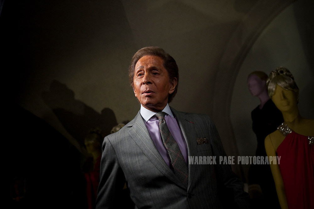Fashion designer Valentino Garavani stands for a TV interview at the 'Valentino: Master of Couture' exhibition at Somerset House on November 28, 2012 in London, United Kingdom. Celebrating the life and work of the Italian master couturier, the show features over 130 hand crafted designs worn by Hollywood icons and Royalty. The exhibition runs from November 29, 2012 - March 3, 2013. (Photo by Warrick Page)