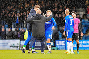 Gillingham  manager Adrian Pennock congratulates Gillingham midfielder Josh Wright (44) at the end of  the EFL Sky Bet League 1 match between Gillingham and Southend United at the MEMS Priestfield Stadium, Gillingham, England on 25 February 2017. Photo by Martin Cole.