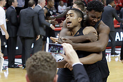 20 March 2017:  Knights celebration during a College NIT (National Invitational Tournament) 2nd round mens basketball game between the UCF (University of Central Florida) Knights and Illinois State Redbirds in  Redbird Arena, Normal IL