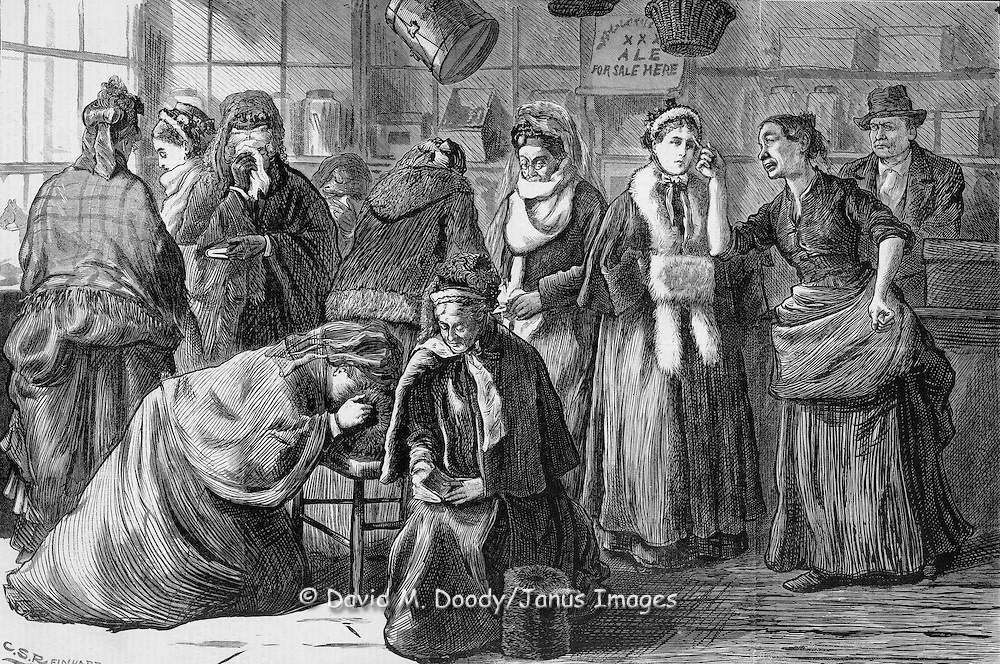 "Vintage Illustration: ""You Shust Git Out"" said Mrs. Klein, of Klein's Confectionery and Toy Store (a saloon) Confronting the praying women (led by Mrs. Col. Lowe) protesting the sale of liquor in her store. Woman's crusade against intemperance later known as The  Woman's Christian Temperance Union (WCTU).  The scene is illustrated by Mrs. C. S. Reinhart of the events in Xenia, Ohio.  social movements, health, substance abuse, sobriety, bars   Harper's Weekly 1874"
