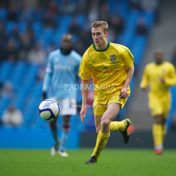MANCHESTER, ENGLAND - Sunday, February 20, 2011: Notts County's Stephen Darby in action against Manchester City during the FA Cup 4th Round Replay match at the City of Manchester Stadium. (Photo by David Rawcliffe/Propaganda)