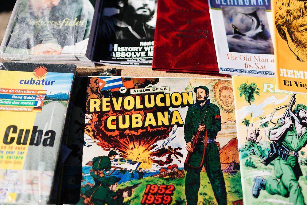 Books and political comic books at a flea market in Old Havana, in Havana Cuba