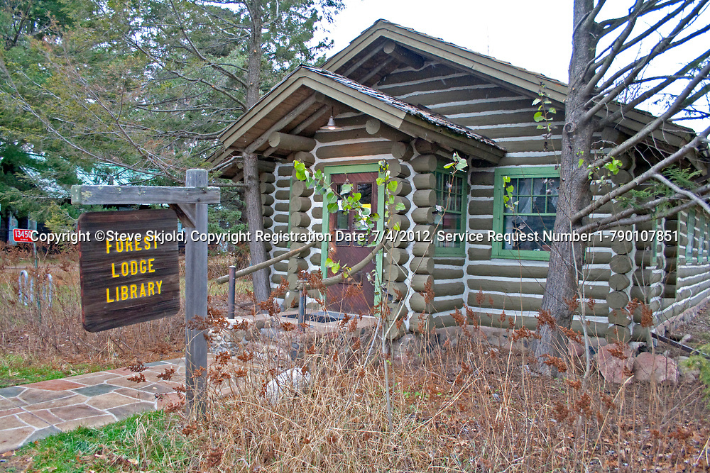 Quaint Forest Lodge Library 1925 log building. Placed on the National Registers of Historic Places. Cable Wisconsin WI USA