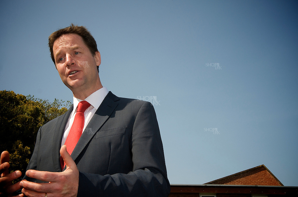 London, England, April 18, 2010. Leader of the Liberal Democrats Nick Clegg gives Speech on International Development in Christ Church in Surry.