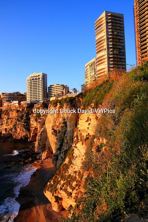 Restaurants, Hotels and apartments line Beirut, Lebanon's rocky Mediterranean shoreline.
