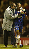 Photo: Aidan Ellis.<br /> Manchester United v Chelsea. The Barclays Premiership. 26/11/2006.<br /> Chelsea assistant Steve Clark has a smile with Ashley Cole at the end