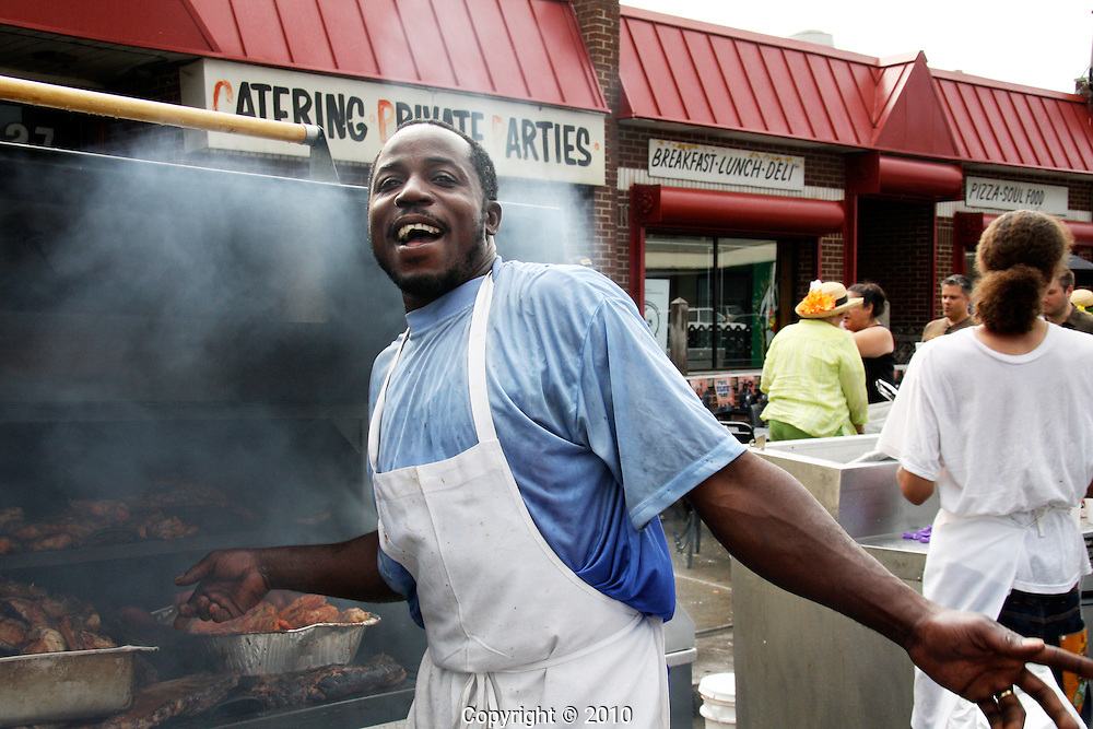 Saturday afternoon BBQ is a staple attraction for hungry mid-day shoppers at Detroit Eastern Market.